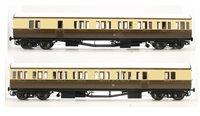 Dapol LHT-606 Suburban B 2 Coach Set GWR Cardiff Division 40 C/Cream