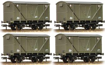 Set of 4 12 Ton BR Planked Departmental Olive Green Ventilated Vans
