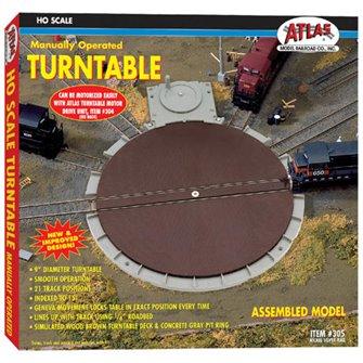 Atlas 305 HO Gauge Manually Operated Turntable - Nickel Silver
