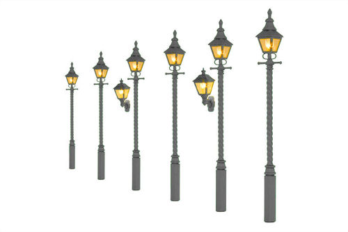 Wall Mounted Gas Lamps Grey Undercoat