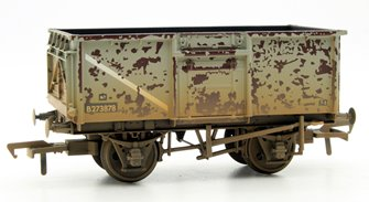 OO Scale 16 Ton Steel Mineral Wagon BR Grey Top Flap Doors Weathered