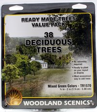 Green Deciduous Trees ¾ - 2 inch (Pack of 38)
