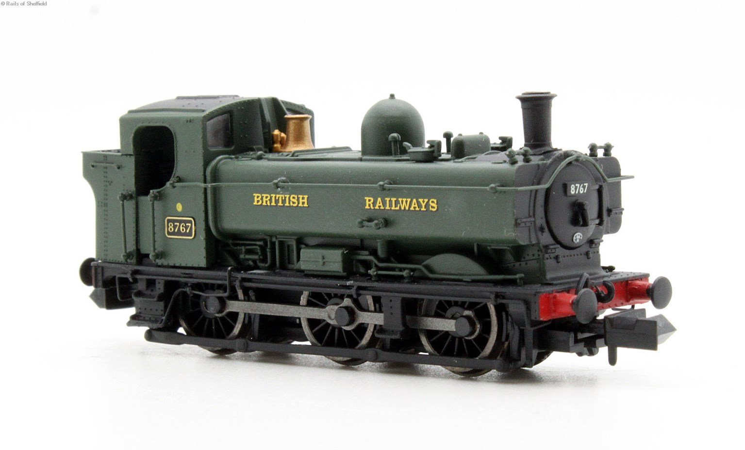 Class 57xx Pannier 0-6-0PT 8767 in BR green with British Railways lettering & later cab - DCC Fitted