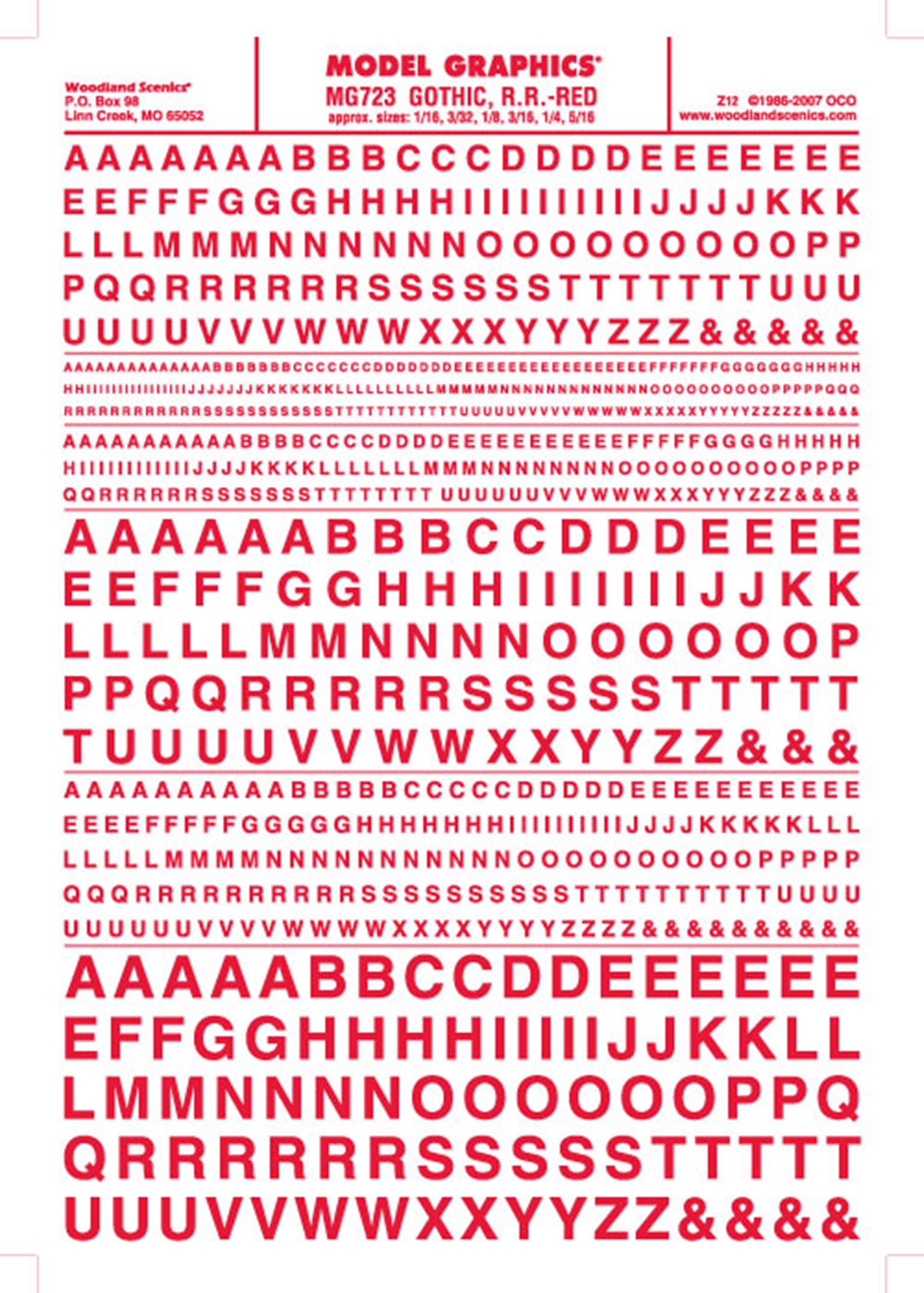 Gothic, R.R - Red Dry Transfer Decals