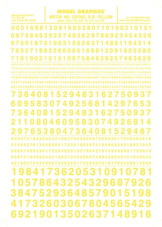 Number Gothic, R.R - Yellow Dry Transfer Decals