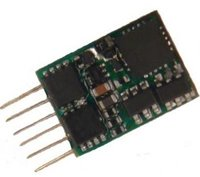 Subminiature Decoder - 12 x 8.5 x 2.2mm - 0.8 Amp with 6 pin NEM 651 plug mounted directly on decoder