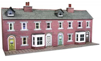 Metcalfe PN174 N Scale Low Relief Red Brick Terraced House Fronts