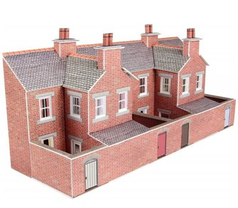 PN176 N Scale Low Relief Red Brick Terraced House Backs